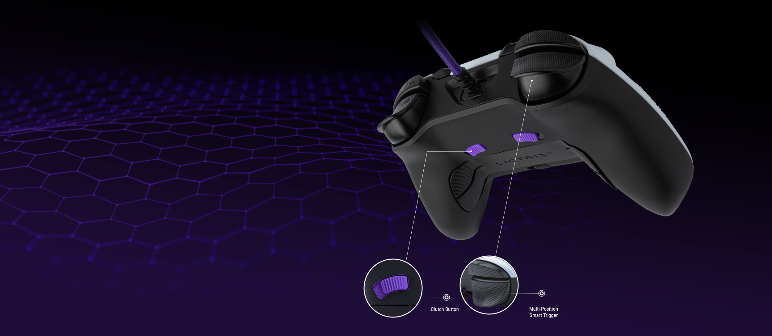 Victrix Gambit Controller Image highlighting the clutch button and multi-position smart trigger.