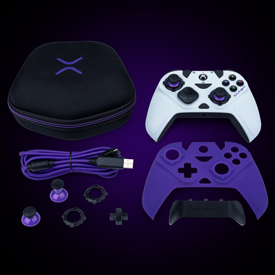 Image of the Victrix Gambit Controller and all the items included in the package