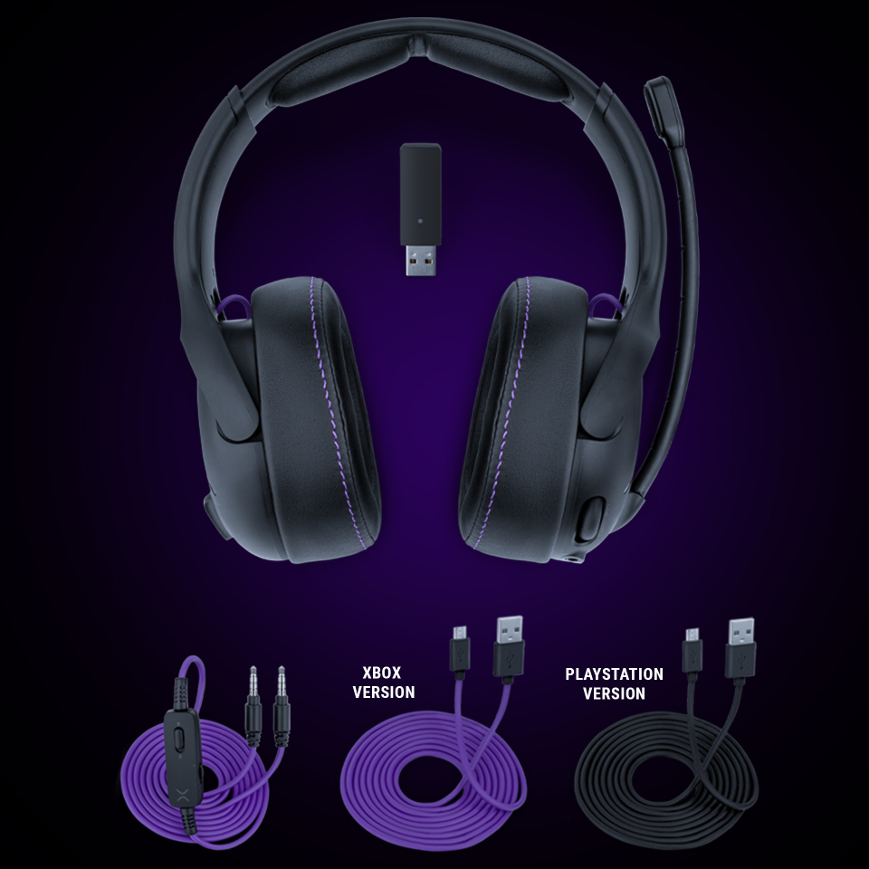 Image of the Victrix Gambit Headset and items contained in the packing like xbox and playstation cables.